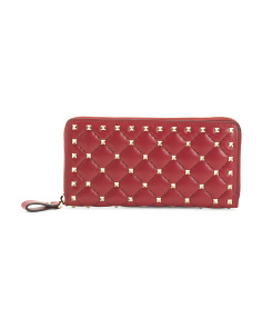 Made In Italy Boxed Rockstud Spike Leather Wallet