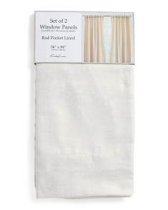 54x96 Set Of 2 Faux Linen Metallic Curtains