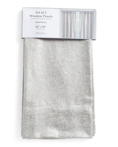 54x96 Set Of 2 Linen Look Metallic Curtains