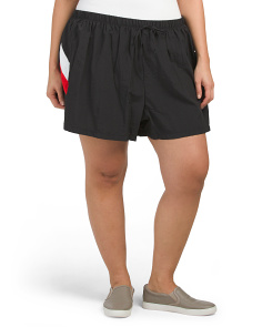 Plus Solid Color Block Cover-up Shorts