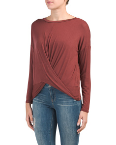 Juniors Long Sleeve Twist Front Top