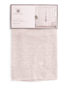 Set Of 2 Linen Look Embellished Sheer Curtains