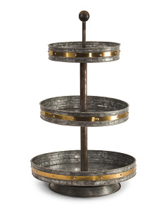 Galvanized Metal 3 Tier Tray