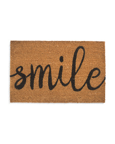 18x28 Natural Sandra Smile Coir Doormat