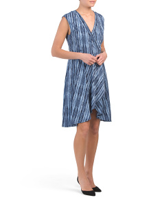 Printed Jersey Faux Wrap Dress