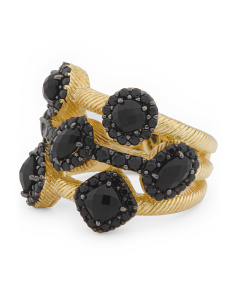 14k Gold Plated Sterling Silver Black Spinel Ring