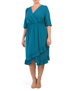 Plus Faux Wrap Chiffon Dress With Asymmetrical Ruffle Hem