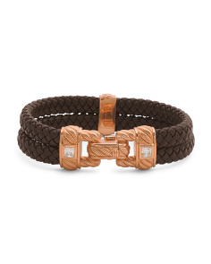 14k Rose Gold Plated Sterling Silver Leather And Cz Bracelet