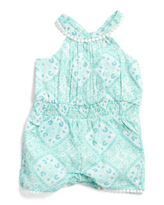 Infant Girls Printed Voile Cross Back Romper
