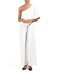 Petite One Shoulder Contrast Trim Jumpsuit