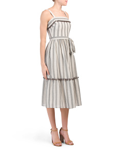 Petite Belted Striped Dress With Flounce Hem