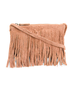 Leather Suede Fringe Crossbody