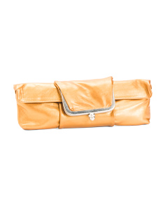 Fold Over Snap Leather Clutch