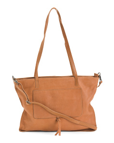 Leather Front Pocket Tote