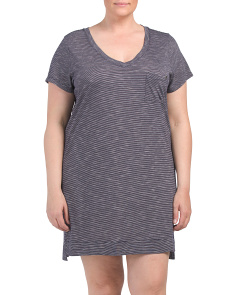 Plus Stripe Jersey Sleepshirt