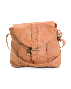 Buckle Front Leather Crossbody