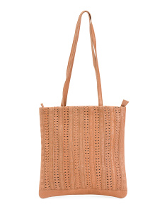 Leather Front Detail Tote