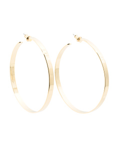 Made In Usa 14k Gold Plated Medium Flat Hoop Earrings