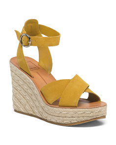 Suede Espadrille Sandals With Ankle Strap