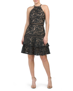 Made In Usa Lace Halter Midi Dress