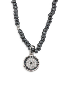 Sterling Silver Hematite And Cz Evil Eye Necklace