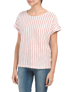 Linen Blend Striped Dolman T-shirt