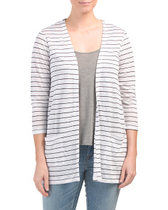 Linen Denmark Striped Draped Cardigan