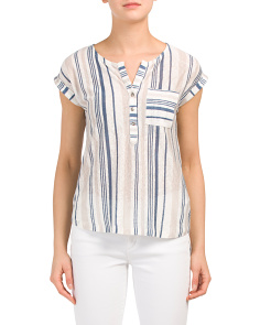 Bayside Stripe Button Front Linen Top