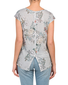 Floral Print Linen Button Back Tee