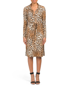 Juniors Made In Usa Leopard Shirt Dress