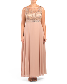 Plus Embroidered Beaded Bodice Gown