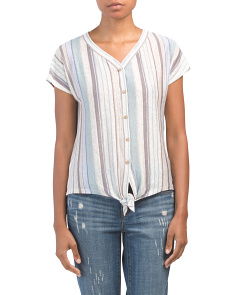 Striped Linen Button Down Top