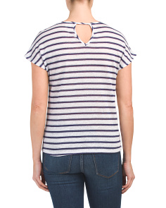 Linen Blend Metallic Striped Top
