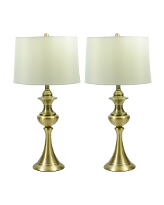 Set Of 2 Antique Brass Spun Table Lamps