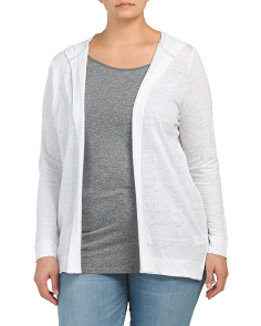 Plus Linen Hooded Cardigan