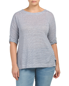5ce492b2f90 Plus Linen City Stripe T-shirt ...