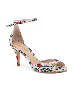 Made In Brazil Floral Ankle Strap Heels