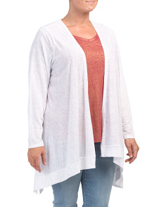 Plus Linen Drape Cardigan