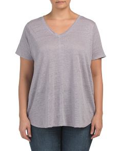 Plus Linen Round Hem V Neck T Shirt