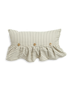 14x24 Ticking Stripe Ruffle And Button Pillow