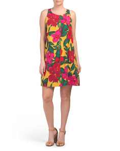 Floral Print Linen Blend Trapeze Dress