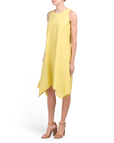 Linen Blend Sharkbite Hem Dress