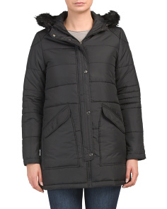 Hooded Angled Patch Pocket Puffer Coat