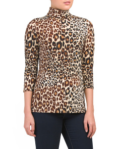 Made In Usa Animal Print Turtleneck Top