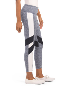 Ankle Length Color Block Leggings With Diagonal Inserts