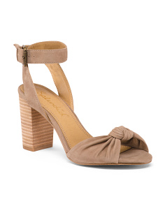Stacked Heel Ankle Strap Suede Sandals