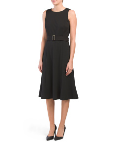 Sleeveless Belted Midi Crepe Dress