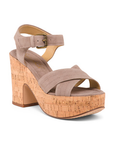 Cork Bottom Platform Suede Sandals