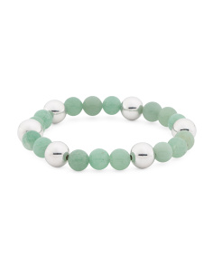 Made In Italy Sterling Silver Green Agate Beaded Bracelet