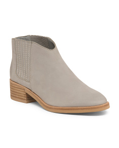 Nubuck Leather Low Ankle Booties